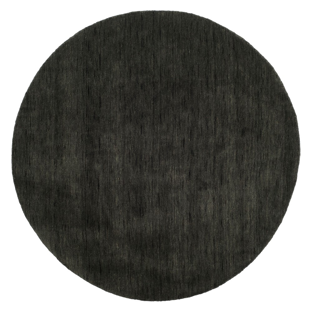 6' Solid Loomed Round Area Rug Charcoal (Grey) - Safavieh