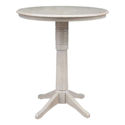 """36""""x36"""" Round Top Solid Wood Pedestal Bar Height Table Washed Gray Taupe - International Concepts"""