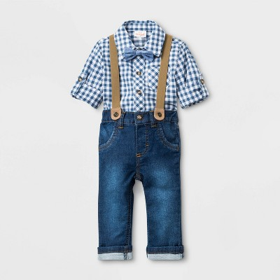 Baby Boys' Gingham Bowite Top & Bottom Set - Cat & Jack™ BLUE 3-6M