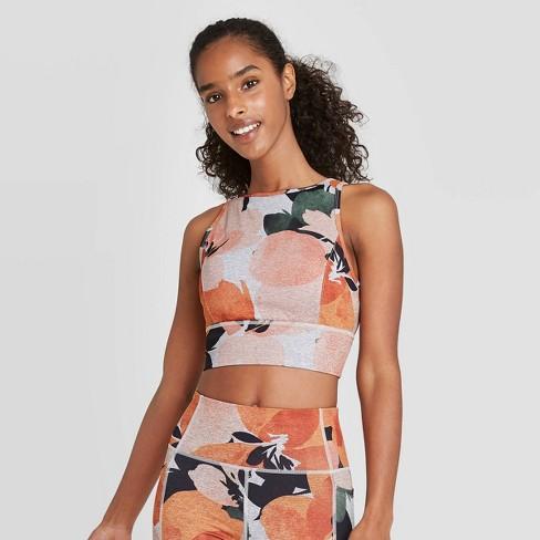 Women's Floral Print High Neck Brushed Jersey Bra - JoyLab™ Orange - image 1 of 2