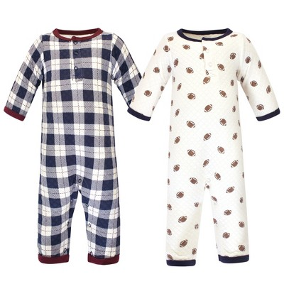 Hudson Baby Infant Boy Premium Quilted Coveralls 2pk, Football