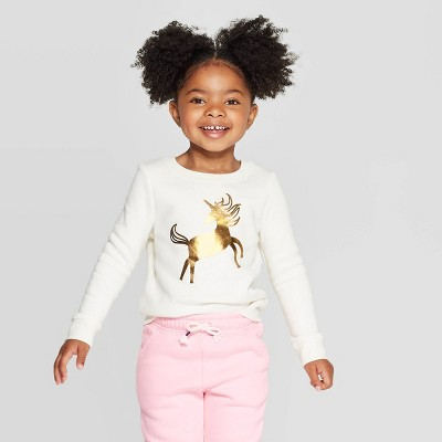 Toddler Girls' Unicorn Crew Fleece Sweatshirt - Cat & Jack™ Cream 2T