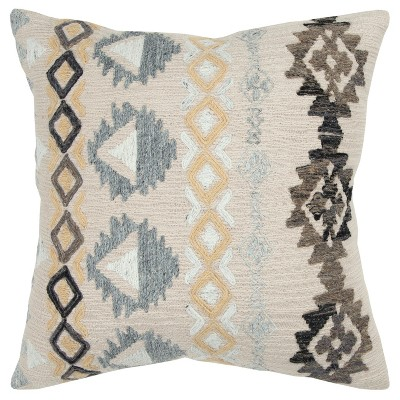 Geometric Decorative Filled Oversize Square Throw Pillow Natural - Rizzy Home
