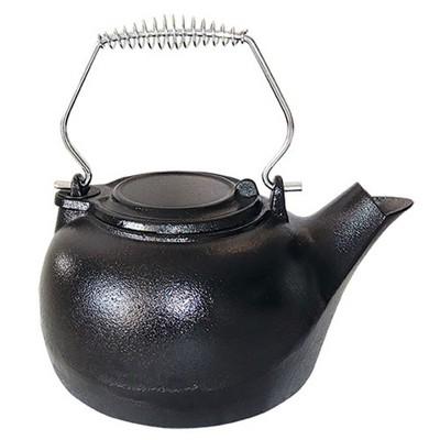 Vogelzang TK-02 3 Quart Enamel Cast Iron Tea Kettle Wood Burning Stove Steamer Humidifier Pot, Black