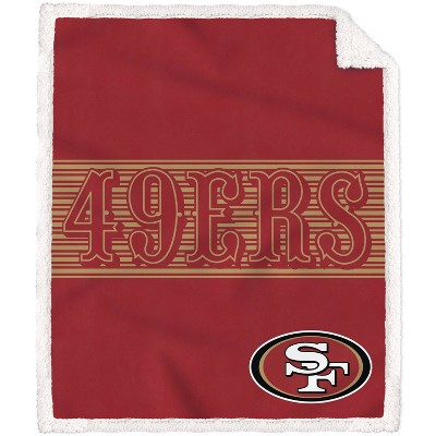 NFL San Francisco 49ers Center Stripe Trim Sherpa Trim Blanket