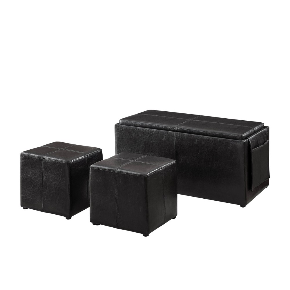 Image of Isabel Bench and Two Ottomans with Tray and Storage Java - Relax A Lounger, Brown