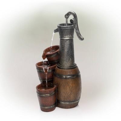 "24"" Vintage Barrel Water Pump With Buckets Fountain - Alpine Corporation"