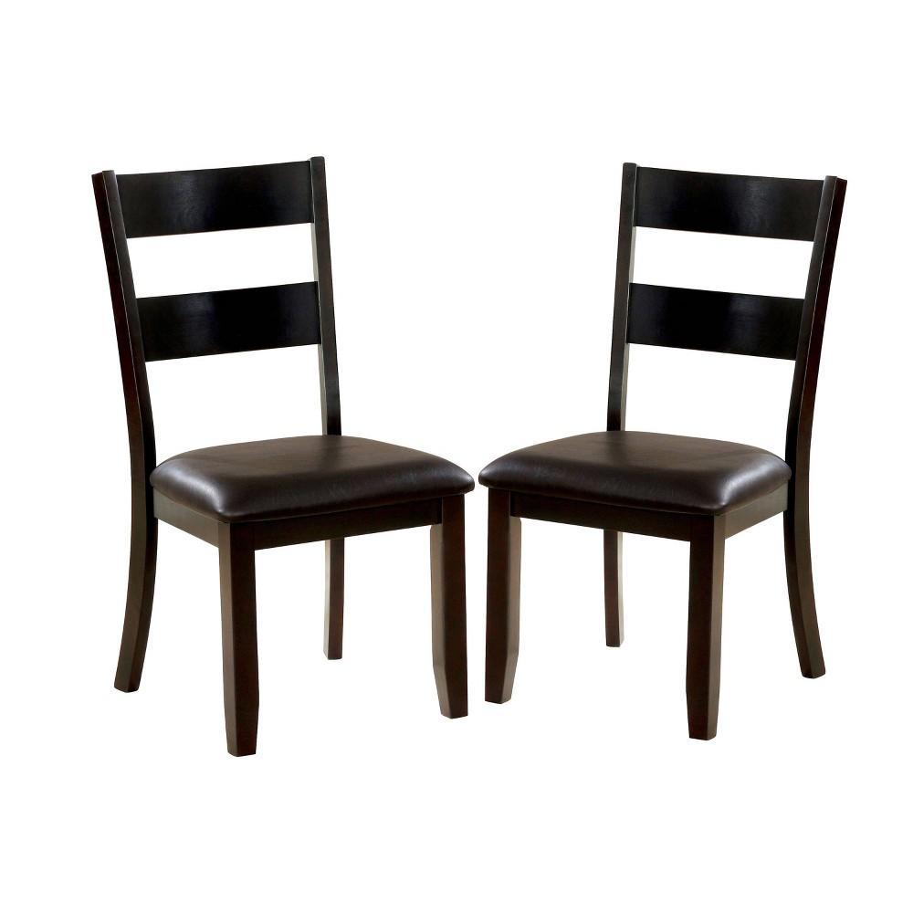 Image of 2pc Bartlett Ladder Back Side Chairs Dark Brown/Dark Oak - ioHOMES