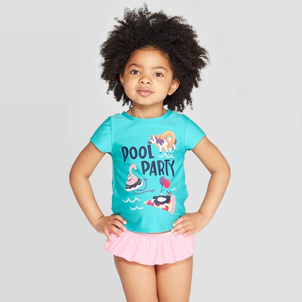 78a71953339 Toddler Girls Short Sleeve Pool Party Rash Guard Set Cat Jack Aqua 5T Blue
