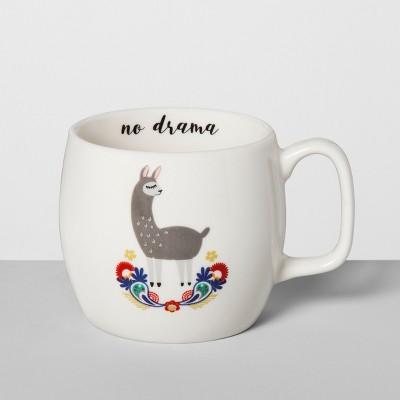 17oz Stoneware No Drama Llama Mug White - Opalhouse™