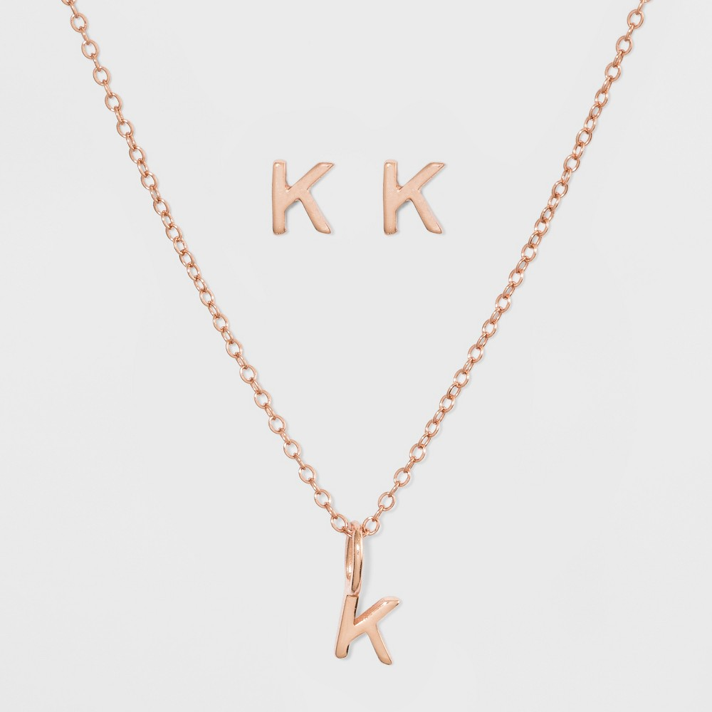 Sterling Silver Initial K Earrings and Necklace Set - A New Day Gold, Girl's, Gold - K