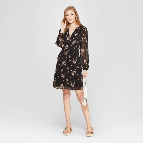 Women's Floral Print Long Sleeve Chiffon Dress - A New Day™ Black - image 1 of 3