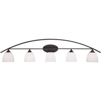 """Franklin Iron Works Modern Wall Light Bronze Hardwired 51 1/2"""" Wide 5-Light Fixture Arching White Glass for Bathroom Vanity Mirror"""