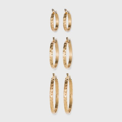 Textured Multi Click Top in Worn Gold Hoop Earring Set 3pc - Universal Thread™ Gold