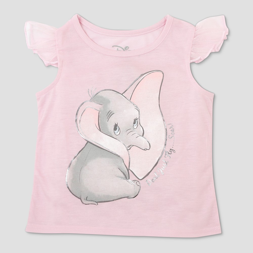 Image of Toddler Girls' Disney Dumbo Cap Sleeve T-Shirt - Pink 12M, Girl's