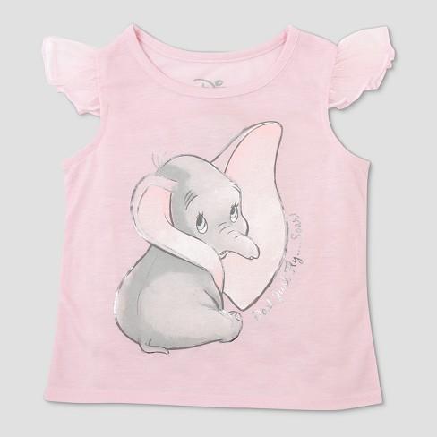 6ddfcc0b Toddler Girls' Disney Dumbo Cap Sleeve T-Shirt - Pink : Target