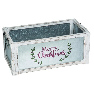 Transpac Metal 20 in. White Christmas Merry Container
