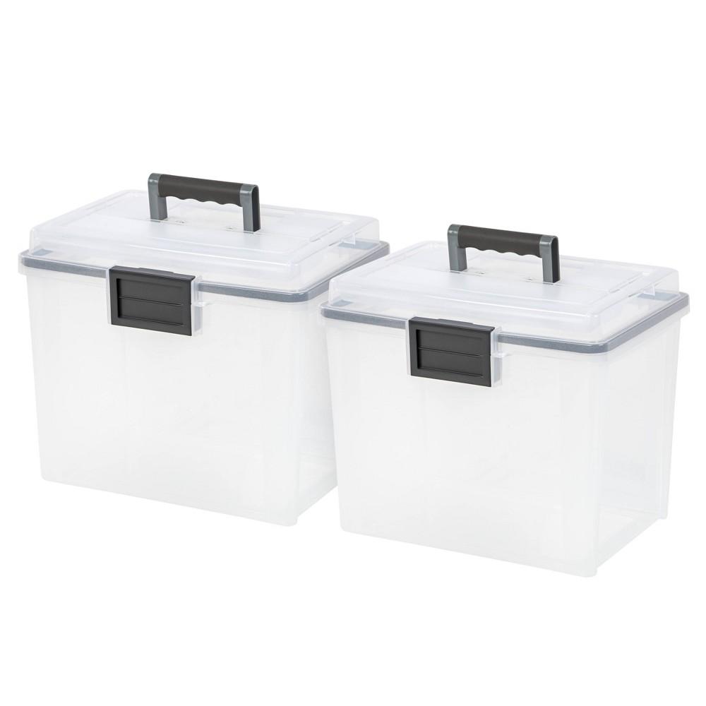Iris 2pk Letter Size Portable Weathertight File Box Clear