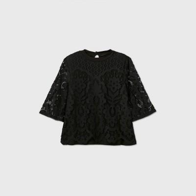 Girls' Boxy Lace 3/4 Sleeve Top - art class™