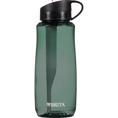 brita hard sided 34 oz water filtration bottle - black : target