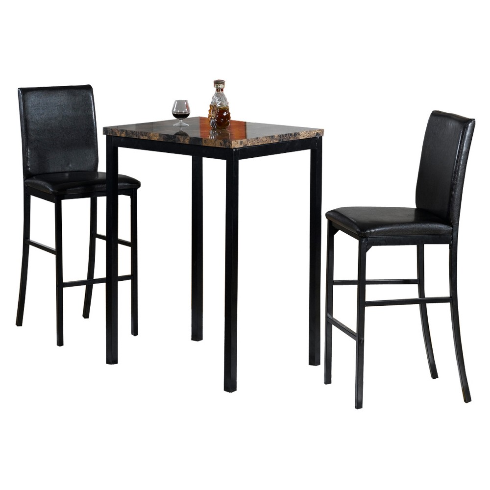 Image of 3pc Faux Counter Height Bistro Table - Brown/Black - Home Source