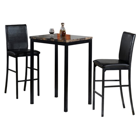 3pc Faux Counter Height Bistro Table Brown Black Home Source Target