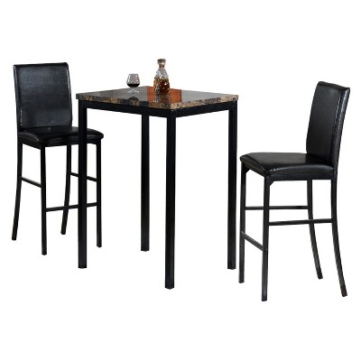 Etonnant 3pc Faux Counter Height Bistro Table   Brown/Black   Home Source