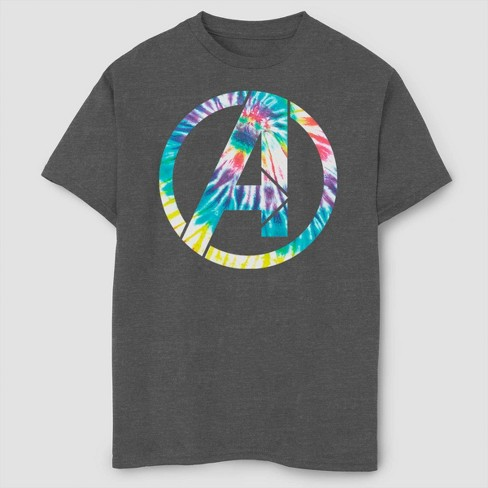 Boys' Marvel Avengers Tie-Dye Short Sleeve T-Shirt- Charcoal Heather - image 1 of 1
