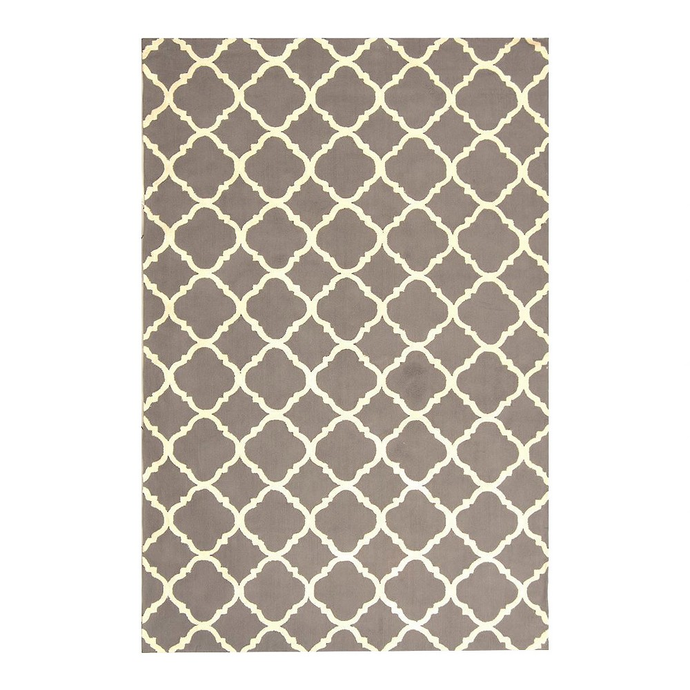 Gray/Ivory Geometric Hooked Accent Rug 3'9