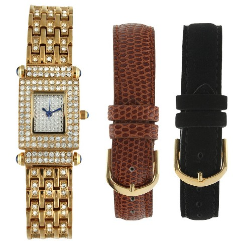 Women's Peugeot® Crystal Pave Dial Interchangeable Strap Watch Set - Gold - image 1 of 2