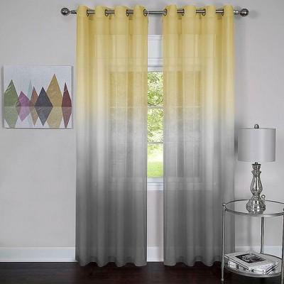 GoodGram 2 Pack: Ultra Luxurious Semi Sheer Ombre Chic Grommet Curtains