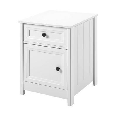 Grooved Door Bedside Storage Nightstand White - Saracina Home
