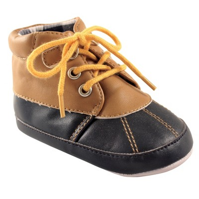 Luvable Friends Baby Boy Crib Shoes, Tan Navy