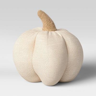 "6"" x 6"" Fabric Pumpkin Figurine Cream - Threshold™"