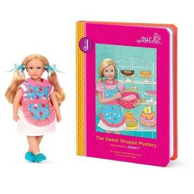"Our Generation Read & Play Set - 6"" Baking Mini Doll Jenny with Storybook"