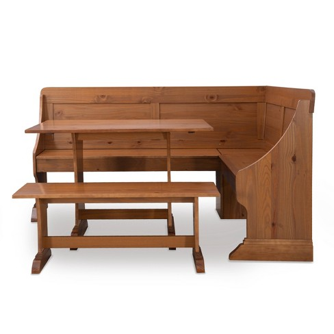 Midwest Pine Breakfast Nook Dining Sets Natural - Linon - image 1 of 4