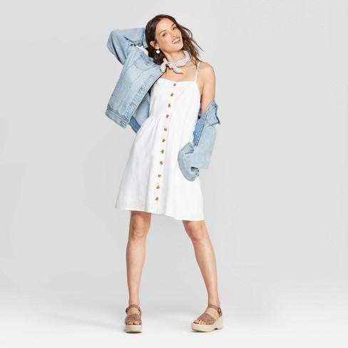Women's Sleeveless Button-Front Short Dress - Universal Thread™ - image 1 of 3