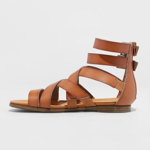 2e5baf0ba49 Women s Rosalee Microsuede Wide Width Gladiator Sandals - Universal Thread™  Cognac 5.5W   Target