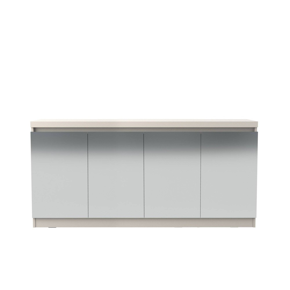 62.99 Viennese 6 Shelf Buffet Cabinet with Mirrors Off-White (Beige) - Manhattan Comfort