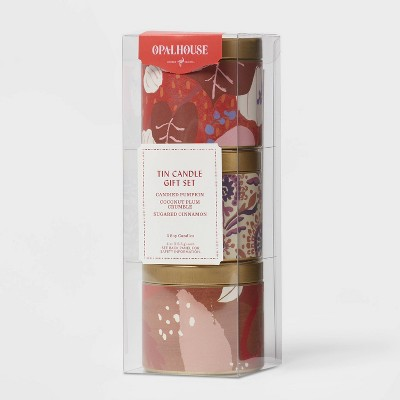 4oz Gift Set Mini Grab Tin with Patterned Wrap Label Seasonal Fall Candle - Opalhouse™