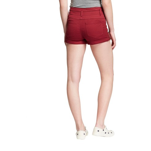 7ca3888fdf6 Women s High-Rise Triple Stack Jeans Shorts - Mossimo Supply Co.™ Burgundy  10   Target