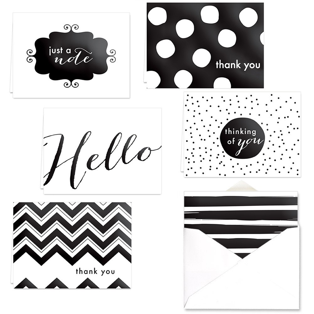 24ct Black Gloss Foil Thank You Note Card Set - Canopy St...