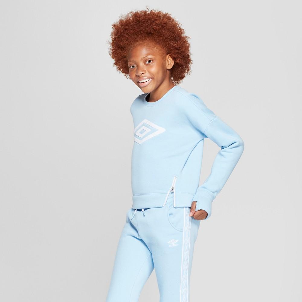 Umbro Girls' Side Zip Fleece Pullover - Light Blue XL, Air Blue