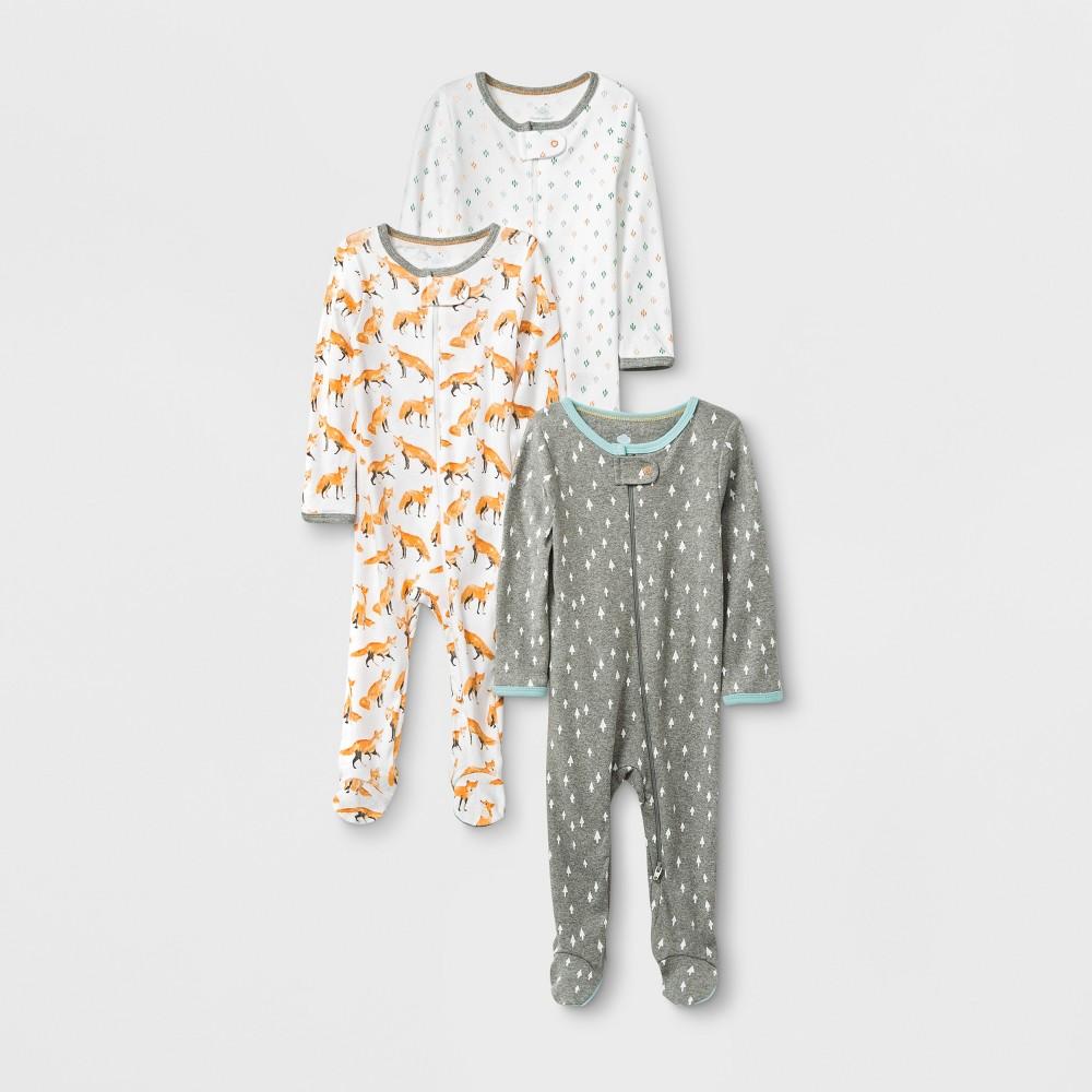 Image of Baby 3pk Fox & Fern Pajama - Cloud Island Gray/White 3-6M, Kids Unisex, MultiColored