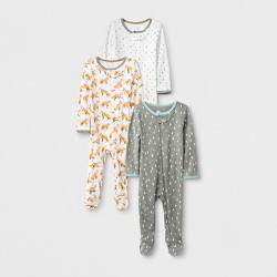 Baby Boys' 3pk Fox & Fern Pajama - Cloud Island™ Gray/White