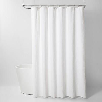 Washed Damask Matelasse Shower Curtain White - Threshold™