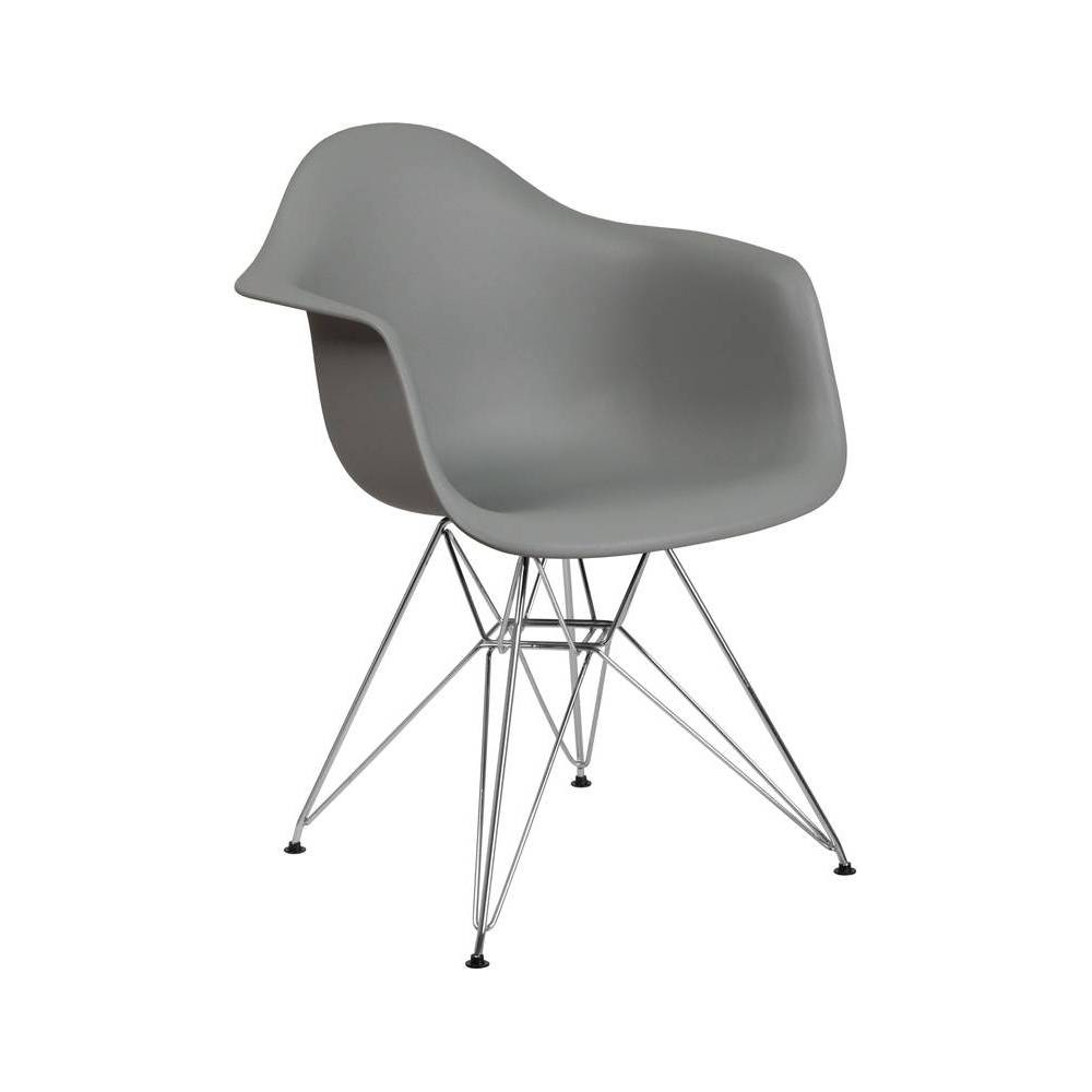 Image of Alonza Series Plastic Chair with Arms and Chrome Base Moss Gray - Riverstone Furniture Collection