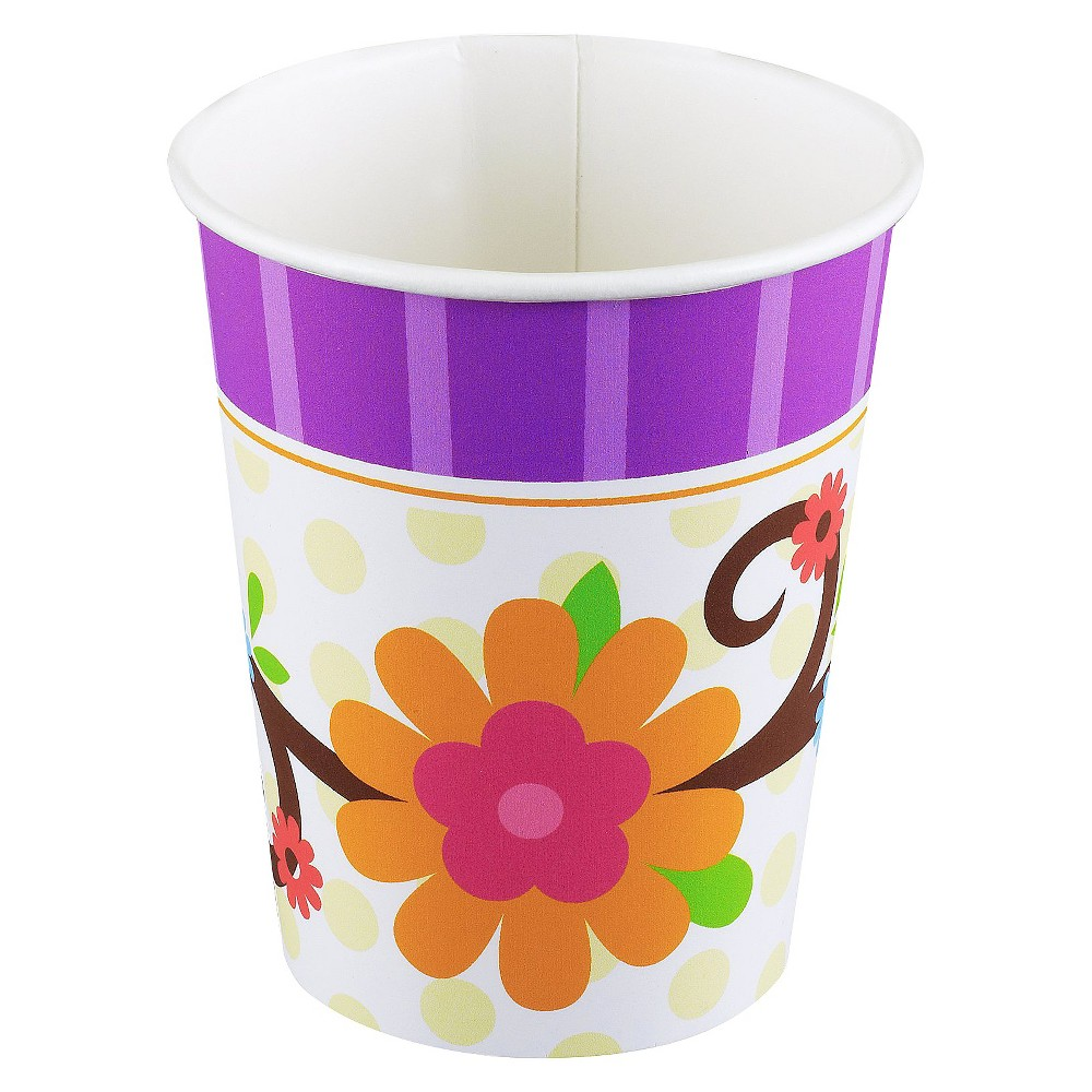 8ct Owl Blossom Paper Cup, Multi-Colored