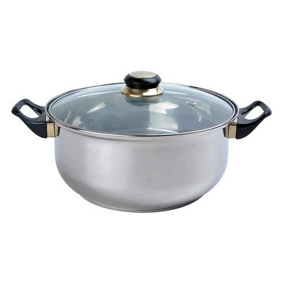 Alpine Cuisine 2 Quart Stainless Steel Dutch Oven Pot with Tempered Glass Lid and Carrying Handles for Sauces, Stews, and More, Silver
