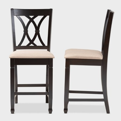 Set Of 2 Reneau Finished Wood Counter Height Pub Chairs Brown   Baxton  Studio